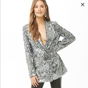NWT - Silver sequin blazer from forever 21